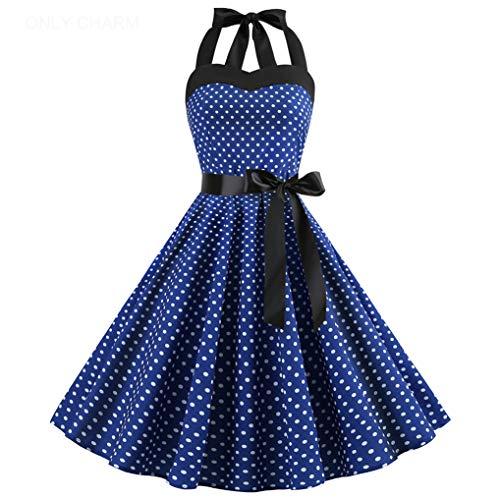 ONLY CHARM Damen Neckholder Kleider, Elegant Vintage Retro Cocktailkleid 1950er Rockabilly Petticoat Faltenrock Festliche Kleider, Navy Blau,XXL