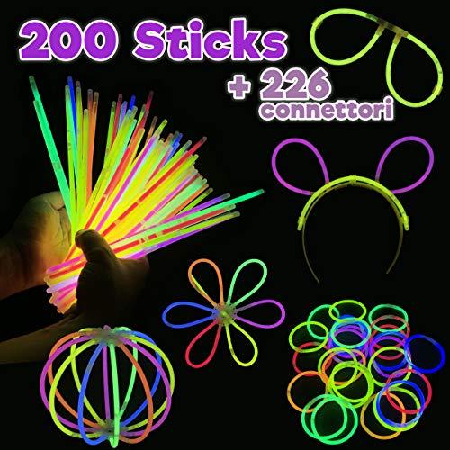 SESENZA 200 Braccialetti Luminosi più 226 connettori | Starlight Fluorescenti | Fluo Party | Glow Stick Multicolore | 10 Kit Occhiali | 5 Cerchietti | Palle Fiori Luminosi e Braccialetti Tripli