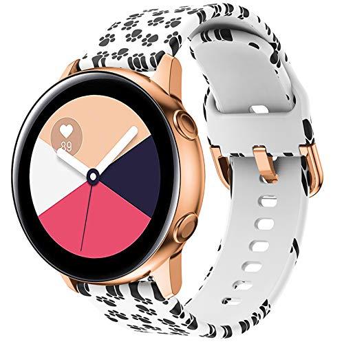 FunBand Cinturino Compatibile per Samsung Galaxy Watch Active Active 2, Modello Stampato Cinghie colorato Silicone Cinturino da Polso Fascia per Galaxy Watch 3 41mm Galaxy Watch 42mm