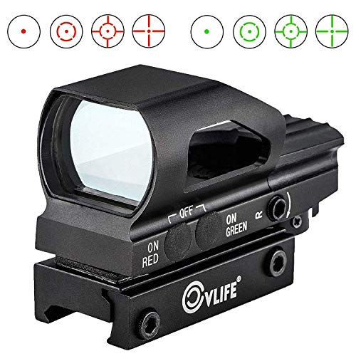 CVLIFE Red & Green Dot Sight 4 Reticles Reflex Sight ON & Off Switch for 20mm Rail Mount