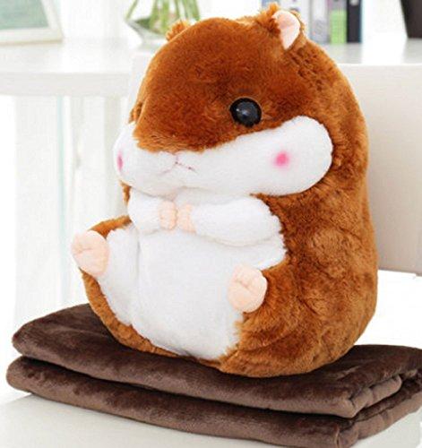 2 in 1 schattige baby hamster werpkussen met deken kinderen dieren stoffen pop zachte pluche bank auto rugkussen Small donkerbruin