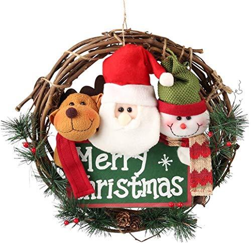 SAKURAM Merry Christmas Wreaths for Front Door, Small Grapevine Wreath Indoor Winter Holiday Wreaths Front Door Christmas Decoration (Reindeer Snowman Santa Claus)