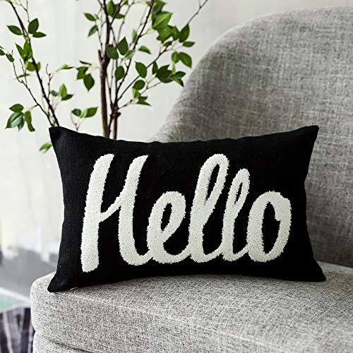 """LANANAS Decorative Throw Pillow Covers for Couch Sofa Bedroom Kids Pillow Cushion Cases12x20 Inch … (12""""x20"""", Hello)"""