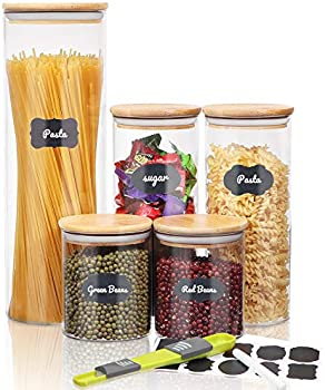 Set of 5 Sawake Glass Canisters Set with Airtight Bamboo Lids