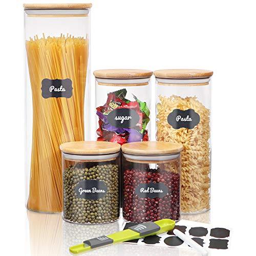 SAWAKE Tarro de Vidrio de Almacenamiento Set de 5,Botes de Cristal con Tapa de Bambú,Hermético Cocina Recipientes para Pasta,Mermelada,Harina,Azúcar,Té,Frijol(2100ml+1000ml*2+500ml*2)