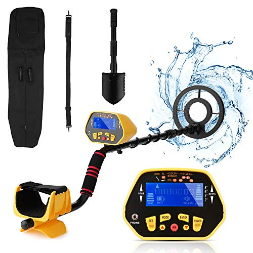 Metal Detector for Adult, Gold Detector with Waterproof Sensitive Search Coil, All Metal, P/P & Disc Modes, 40.55-47.24 Inch Adjustable Height, Lightweight Metal Detector [Inculde Headphone]