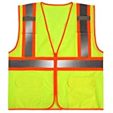 SULWZM High Visibility Reflective Safety Vest with Zipper and Pockets Yellow,4XL