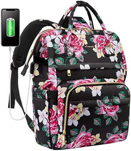 Laptop Backpack for Women Cute Laptop Bag School Computer Bag Floral Laptop Purse with USB Charging product image