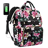 Laptop Backpack for Women Cute Laptop Bag School Computer Bag Floral Laptop Purse with USB Charging Port, 15.6-Inch