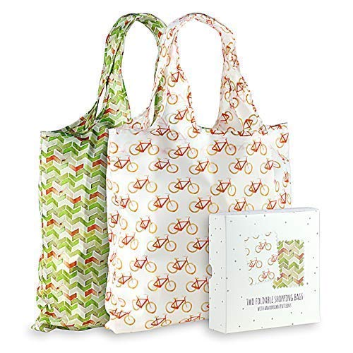 Momiji Premium Reusable Grocery Shopping Bags, Unique European Artists, Certified Recycled Polyester, Set of 2 Bags, Foldable, Eco-Friendly, Machine Washable, Lightweight (Bike and Brick)
