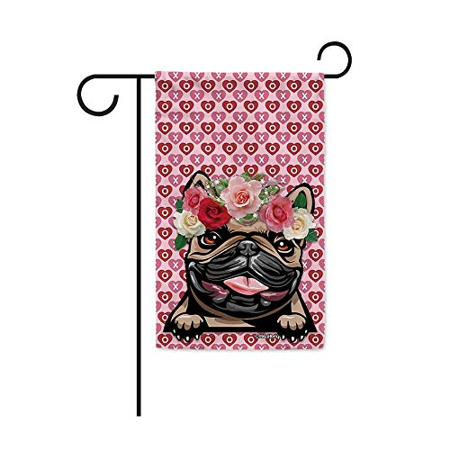 MALIHONG Happy Valentine's Day Garden Flag Peeking Dog French Bulldog Wear Rose Flower Wreath Funny Love Banner for Home Decor 12.5X18 Inch Printed Double Sided