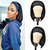 G&T Wig Headband Bob Wigs for Women Black Short Straight Wig Glueless Heat Resistant Fiber Natural Looking Synthetic Bob Headband Wig for Daily Party Wedding Use(12 inch)