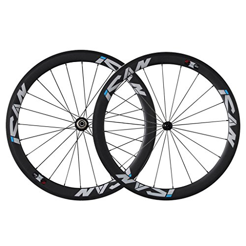 ICAN 50mm Carbon Road Bike Wheels 700C Clincher Sapim CX-Ray Spokes Rim Brake Only 1460g (Upgraded Version Wheelset)