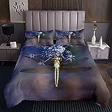 Set di trapunte ornamentali libellula floreale copriletto per bambini ragazzi ragazze insetti volanti animali selvatici trapuntati camera da letto 3 pezzi matrimoniale