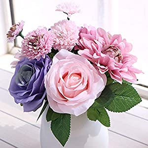 LeLehome Bridal Bouquet Flower Arrangement Home Decorative Real Touch Silk Artificial Floral Decor – Rose, Daisy, Dahlia, for Wedding Decoration, Birthday Bunch, Hotel Party Garden – Mix Color