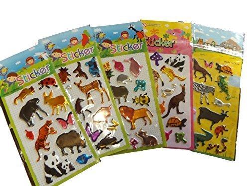 5 Petites Feuilles de Zoo Animaux Lions zèbre Panda Autocollants pour Filles Enfants garçons, Loisirs créatifs, ferraille Livres, Fabrication Cartes, Cadeau fête Sacs