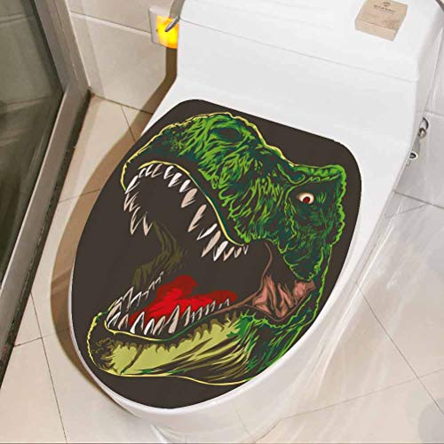Toilet Seat Cover Decal Aggressive Wild T Rex 3D Wall Stickers Self Adhesive for Toilet Bathroom Home Chair Closestool Sofa, W33xH41 cm