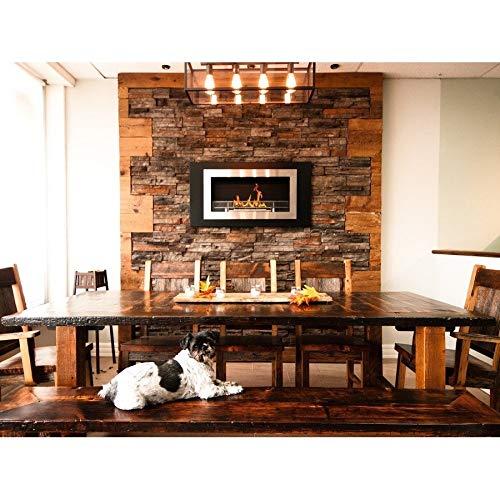 New Flame Lorenzo Ss Wall Mounted Bio-Ethanol Fireplace W/ 16 Burner Silver Modern Contemporary Sta...