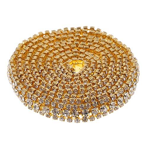 joyMerit 1 Yard AB Coloured Crystal Rhinestone Close Chain Trimg Claw Chain DIY Craft - Gold + White, as described