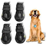 Kcgosz Outdoor Dog Shoes, Waterproof Dog Boots, pet rain Boots, Running Shoes for Medium and Large Dogs, with Two Reflective Fixing Straps and Sturdy Non-Slip Soles