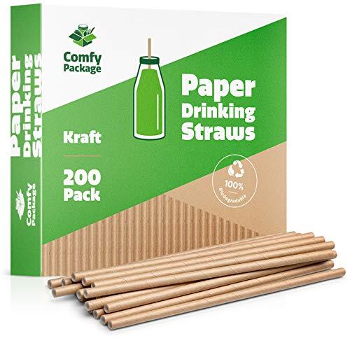 Comfy Package [Pack de 200] - Pajitas de Papel Kraft 100% biodegradables contienen Tinta