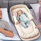 Aik@ Portátil Plegable Bebé Cunas Colecho,Nido Bebé Cuna De Viaje Capazo de bebé 100% Algodón Hipoalergénico Transpirable Adecaudo Para 0-1 Año Bebé-A