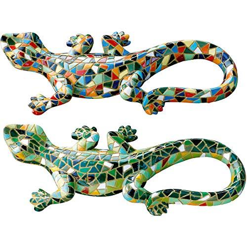 Set mit 2 Mosaik Eidechsen Grün und Harlequin Garten Deko aus Kunstharz