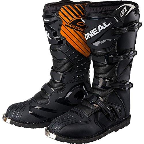 ONEAL | Bottes de Motocross | MX Enduro | Protection de la semelle en métal, tissu Air-Mash confortable, boucles faciles à ajuster | Bottes de coureur EU | Adulte | Noir | Taille 44/10,5