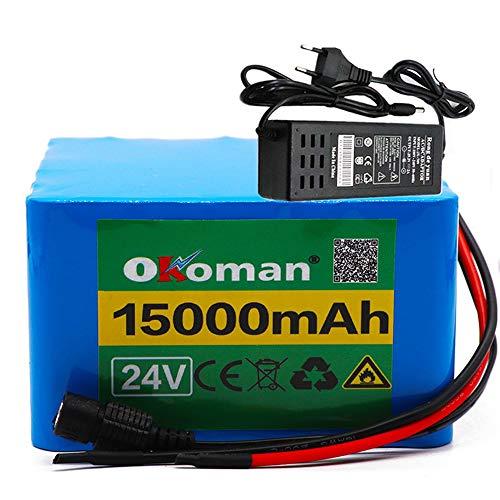 Batería de litio de 24v 15ah 6S5P 25.2V baterías de batería para bicicletas eléctricas para bicicleta de motor eléctrico con cargador BMS +