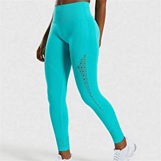 Jinqiuyuan Seamless Leggings Women Hip Push Up Yoga Pants High Waist Booty Leggings Stretchy Tights Women Leggings Sport Fitness (Color : Tropical Blue, Size : L)