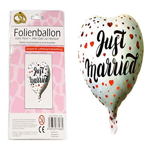 G&M Folienballon Hochzeit Just Married Herz Weiss Luftballon Helium 45cm Deko Party