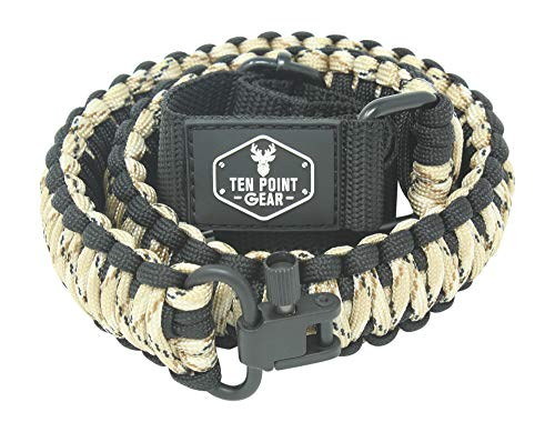 Ten Point Gear Gun Sling Paracord 550 Adjustible w/Swivels (Multiple Color Options) (Black & Tan Camo)