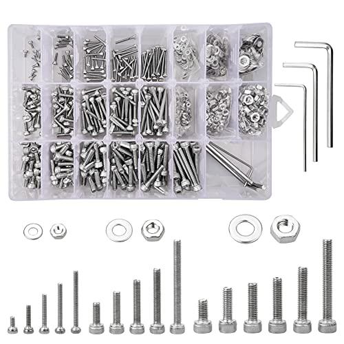 960 tornillos hexagonales de acero inoxidable 304, surtido de tornillos M2 M3 M4, tornillos hexagonales y tuercas planas, juego de máquina con llave Allen