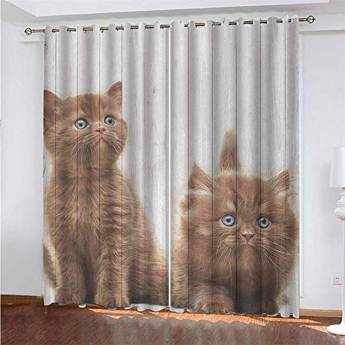 YUNSW Lovely Cat 3D Digital Printing Polyester Fiber Curtains, Garden Living Room Kitchen Bedroom Blackout Curtains, Perforated Curtains 2 Piece Set