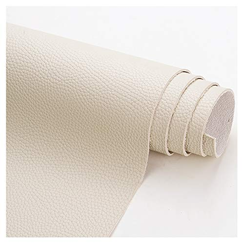 wangk Tela De Cuero Polipiel Lychee Pattern Thick 1.9mm Tela De Polipiel Tapicería Tejidos Tejido de Piel sintética para tapizar, Manualidades, Cojines o forrar Objetos-Beige 1.38x8m