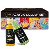 Tavolozza acrílico Color Set - Incluye 32 x 60 ml botellas de acrílico colores, 3 x Surtido de pinceles, 1 x Mezcla paleta, perfecto para la pintura sobre el lienzo, cerámica, piedra y madera