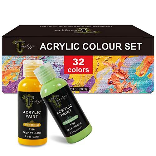 Tavolozza Acrilico Color Set - Contenuto include 32 x 60 ml Bottiglie Colori acrilici, 3 x assortiti Pennelli, 1 x PVC Mixing Palette, perfetto per la pittura su tela, ceramica, pietra e legno, ecc