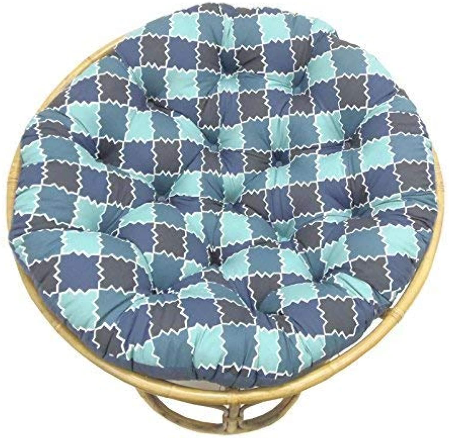 Cotton Craft Papasan Mgoldccan Mosaic Tile Shades of bluee Overstuffed Chair Cushion, Sink into Our Comfortable and Oversized Papasan, Pure 100% Cotton Duck Fabric, Fits Standard 45 inch Round Chair