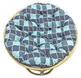 COTTON CRAFT Papasan Moroccan Mosaic Tile Shades of Blue Overstuffed Chair Cushion, Sink into Our Comfortable and Oversized Papasan, Pure 100% Cotton Duck Fabric, Fits Standard 45 inch Round Chair