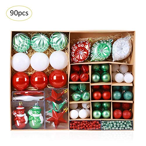 GEDEIHEN Weihnachtskugel Dekoration, 90 stück bemalte Weihnachtskugel Es gibt rot und grün, Weihnachts baumschmuck Set Die Atmosphäre ist sehr hell