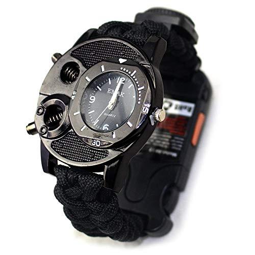 XHLLX Outdoor Survival Multifunktions Armbanduhr Mit Pfeife Kompass Thermometer Taschenlampe Infrarot Laserlicht Für Expedition Camping,Schwarz