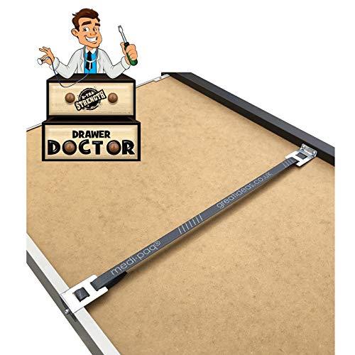 Drawer Doctor - Schnalle für den Schubladen Unterbau im 4er Pack– In einer Minute die Gebogene Schublade mit Holz Werkzeuge Reparieren, 4x Schubladen-Kit
