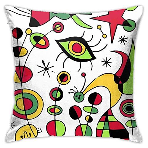 NBVC Joan Miro Peces De Colores Colorful Fish Artwork Decoración del Hogar, Sofá, Dormitorio, Coche, Funda de Almohada Estándar, Funda De Cojín Cuadrada, Tamaño Estándar,45X45 CM