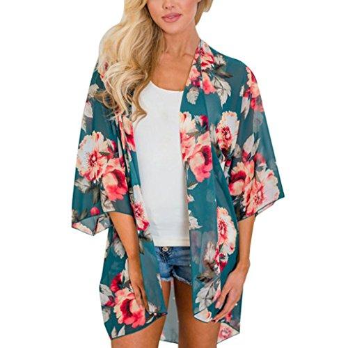 Longra dames-t-shirt, bloemenmotief, chiffon, lange mouwen, cardigan, T-shirt, dames, top, zonnebescherming, tank-tops, strandvest, vintage, bohemian XL(Asia XL=EU L) Groen