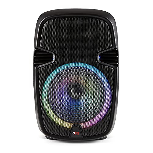 """QFX PBX-153 15"""" Bluetooth Rechargeable Speaker with LED Party Lights (2021 Model)"""
