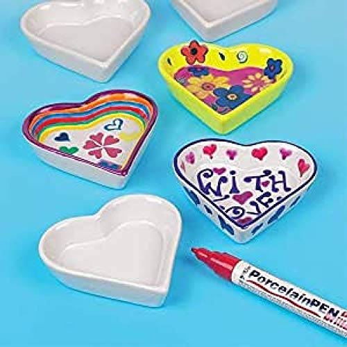 Baker Ross EK6632 Heart Shaped Porcelain Dishes, For Kids to Decorate and Personalise, (Pack of 4), 12.0 cm*14.0 cm*11.5 cm