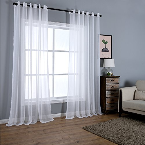 """Dreaming Casa Solid Sheer Curtains Draperies White Grommet Top Two Panels 100"""" W x 102"""" L"""