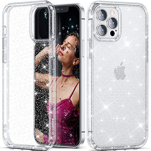 """CASEKOO Crystal Glitter Designed for iPhone 12 Pro Max Case, [Never Yellow] Bling Clear & Shockproof Protective Sparkle Phone Cover Thin Slim Case for Women & Girls (6.7"""") 2020- Twinkle Stardust"""