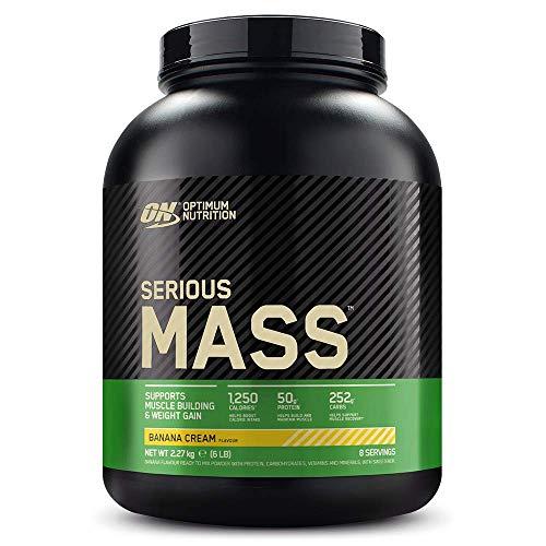 Optimum Nutrition ON Serious Mass Hochkalorisches Weight Gainer Protein Pulver mit Kohlenhydrate, Whey Protein, Vitaminen, Kreatin und Glutamin, Banana, 8 Portionen, 2,73kg