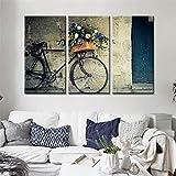 KUANGSL Pintura de Lienzo de 3 Paneles Canasta de Flores para Bicicletas - Arte Moderno Abstracto de la Pared Pintura Simple Cartel HD Decoración de la Sala de Estar